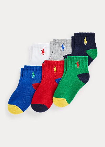 Polo Ralph Lauren Color Blocked Quarter Length Sock 6 Pack