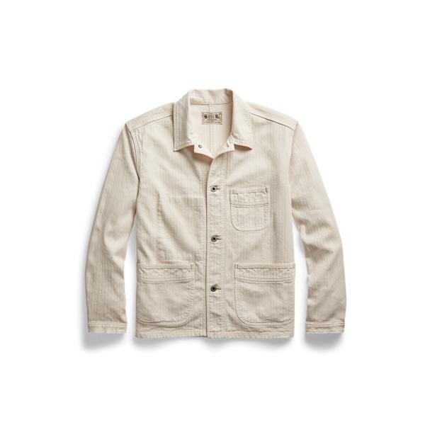 Double Rl Linen-cotton Herringbone Sport Coat In Cream Herringbone