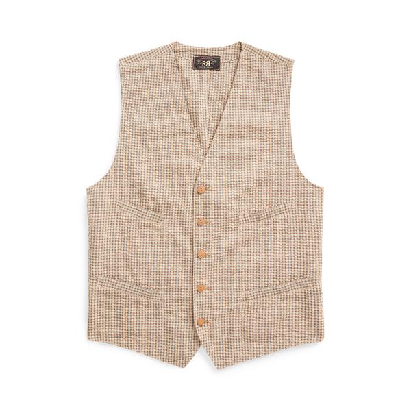 Double Rl Seersucker Vest In Cream/blue/brown Multi
