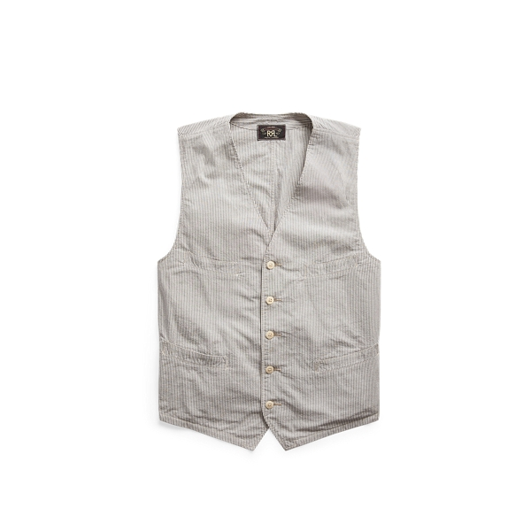 Double Rl Striped Seersucker Vest In Cream And Grey