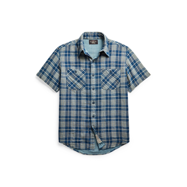 Double Rl Indigo Plaid Double-faced Workshirt In Blue