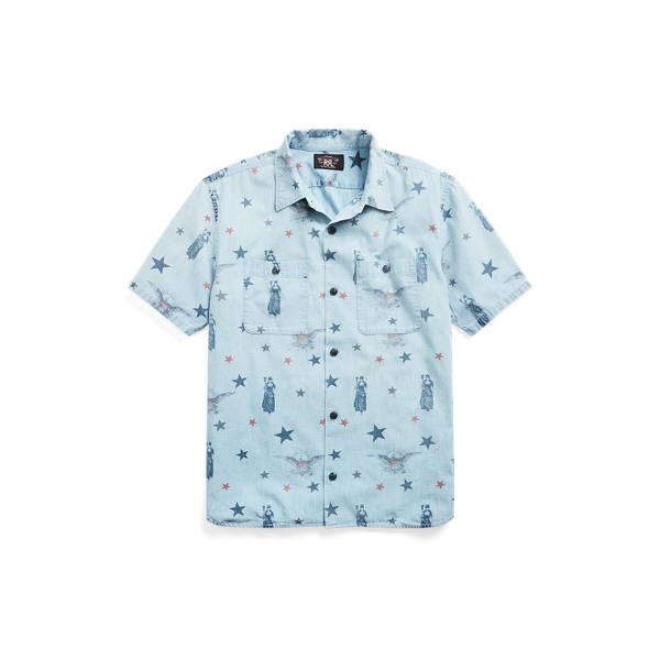 Double Rl Indigo Star-print Camp Shirt In Blue