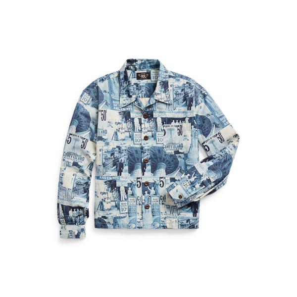 Double Rl Photo-print Twill Camp Shirt In Blue/dark Blue