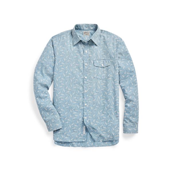 Double Rl Slim Fit Indigo Paisley Shirt In Light Indigo