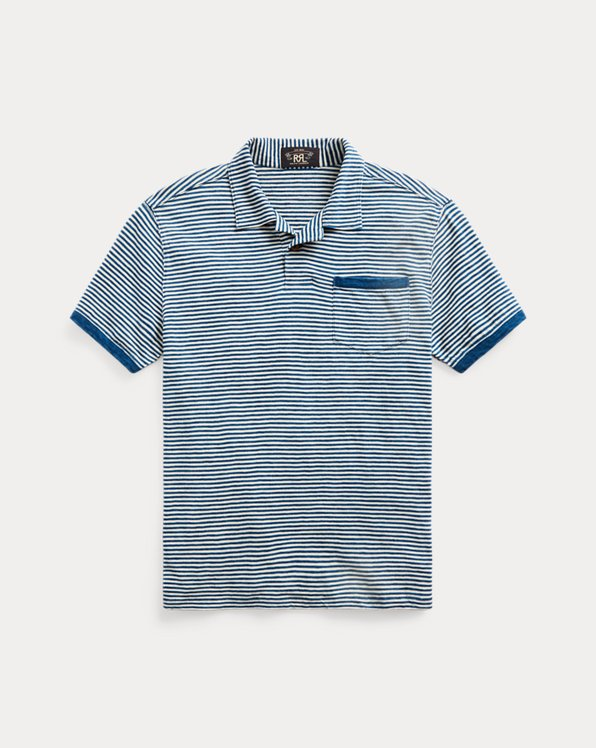 Indigo Striped Jersey Polo Shirt