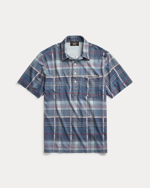 Madras-Print Jersey Polo Shirt
