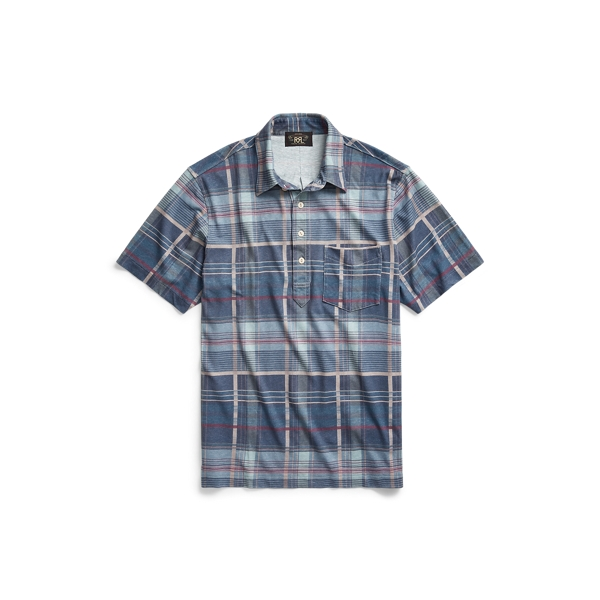 Double Rl Madras-print Jersey Polo Shirt In Blue