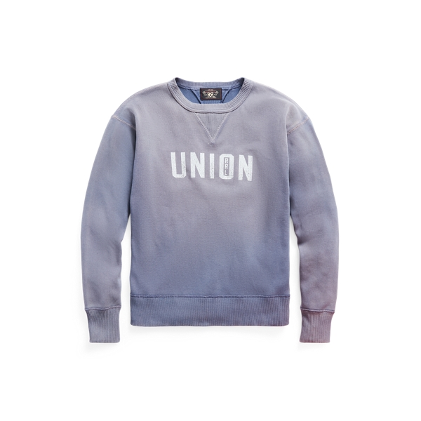 Double Rl Ribbed Graphic Crewneck In Gray