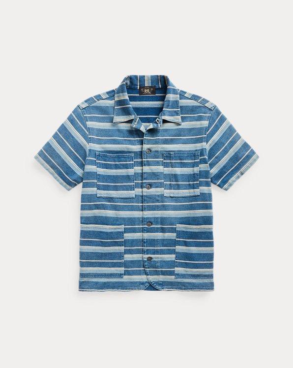 Indigo Striped Jersey Overshirt