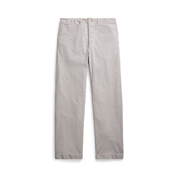 Double Rl Striped Seersucker Pant In Cream And Grey