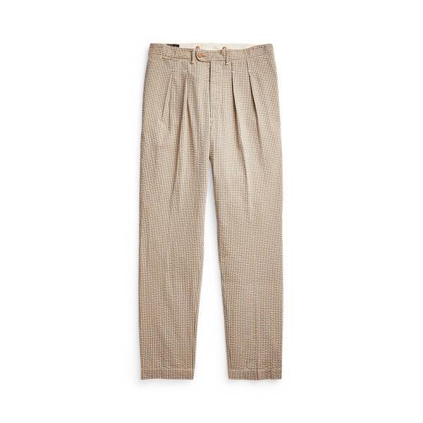 Double Rl Slim Fit Pleated Seersucker Pant In Cream/blue/brown Multi