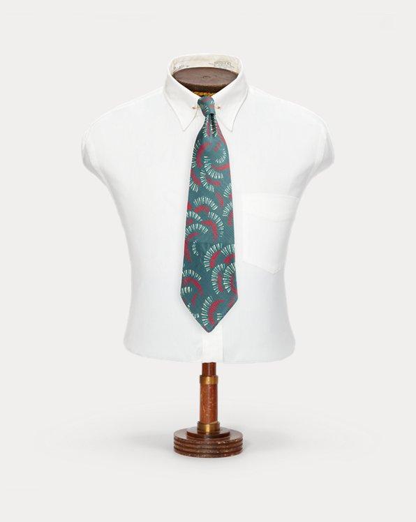 Handmade Fan-Print Silk Tie