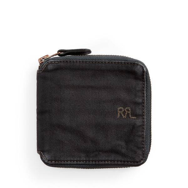 Double Rl Jungle Cloth Zip Wallet In Black
