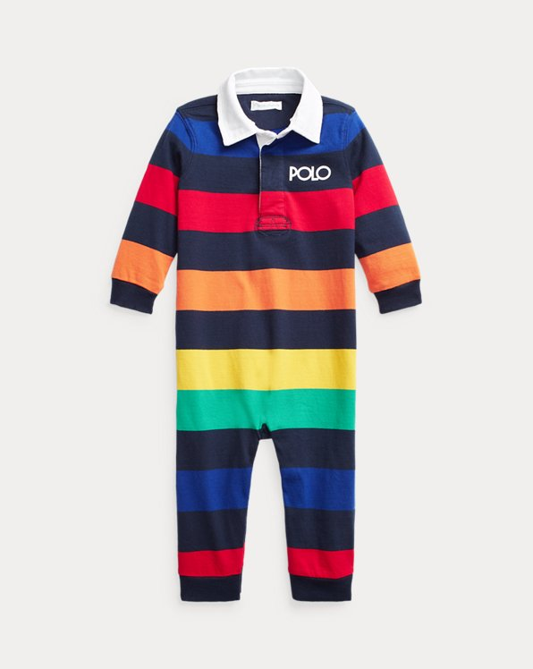 Logo Striped Cotton Rugby Coverall