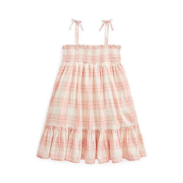 폴로 랄프로렌 여아용 플레이드 도비 원피스 Polo Ralph Lauren Plaid Cotton Dobby Dress,Pink Cream