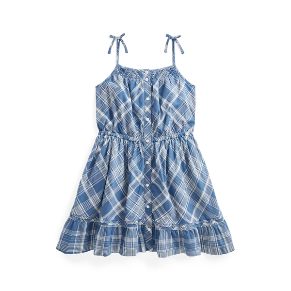 폴로 랄프로렌 여아용 플레이드 원피스 Polo Ralph Lauren Plaid Cotton Dress,Blue/White