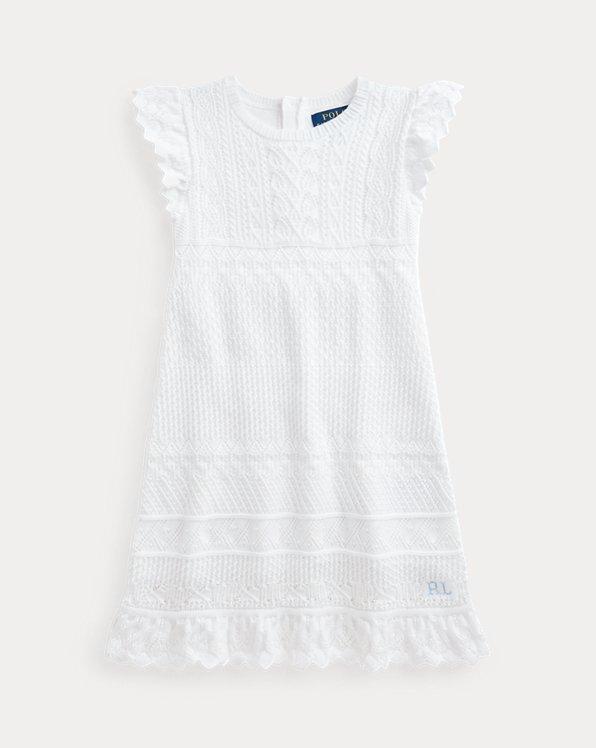 Pointelle-Knit Cotton Jumper Dress
