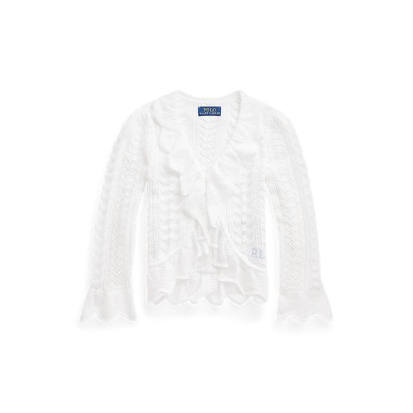 폴로 랄프로렌 여야용 가디건 Polo Ralph Lauren Ruffled Pointelle Knit Cotton Cardigan,White