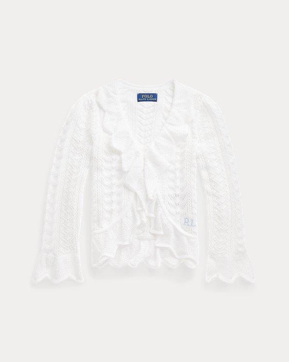 Ruffled Pointelle-Knit Cotton Cardigan