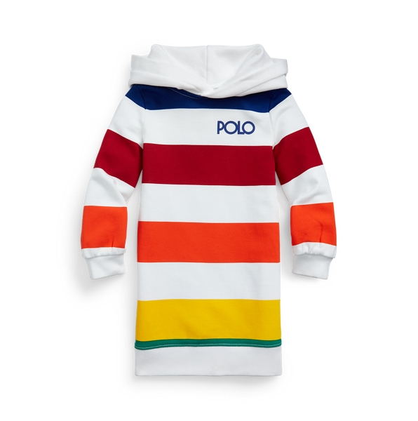 Polo Ralph Lauren Kids' Striped French Terry Hoodie Dress In Multi