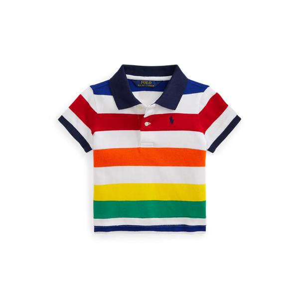 Polo Ralph Lauren Kids' Striped Cropped Cotton Mesh Polo Shirt In White Multi