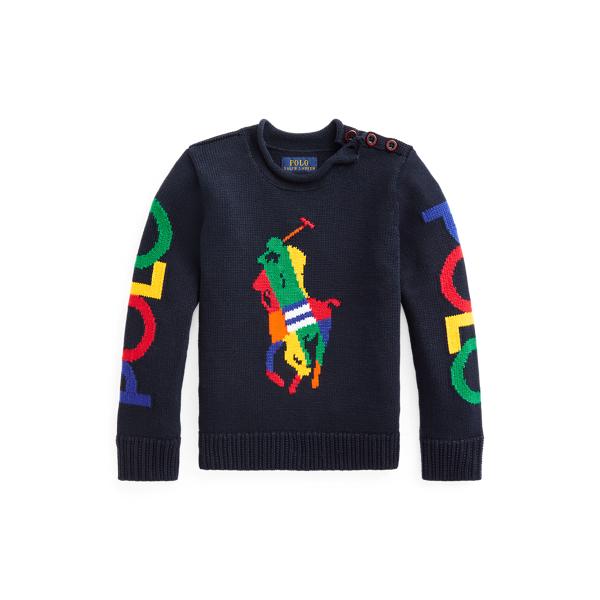 폴로 랄프로렌 여아용 빅포니 코튼 스웨터 Polo Ralph Lauren Big Pony Cotton Sweater,RL Navy Multi
