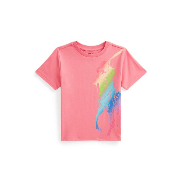 Polo Ralph Lauren Kids' Big Pony Cotton Jersey Tee In Ribbon Pink