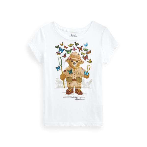 폴로 랄프로렌 여아용 폴로 베어 티셔츠 Polo Ralph Lauren Polo Bear Cotton Jersey Tee,White