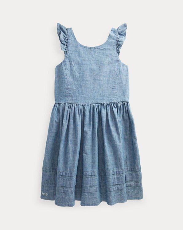 Ruffled Cotton Chambray Dress