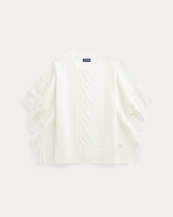 Pointelle-Knit Cotton Poncho