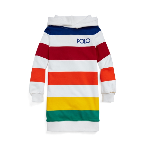 Polo Ralph Lauren Kids' Striped French Terry Hoodie Dress In White Multi