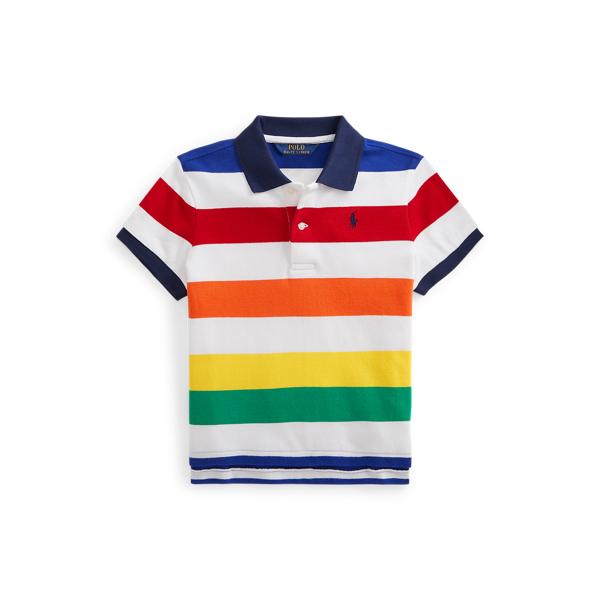Polo Ralph Lauren Kids' Striped Cropped Cotton Mesh Polo Shirt In Multi