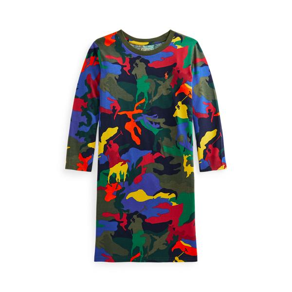 Polo Ralph Lauren Kids' Big Pony Camo Jersey Tee Dress In Player Camo