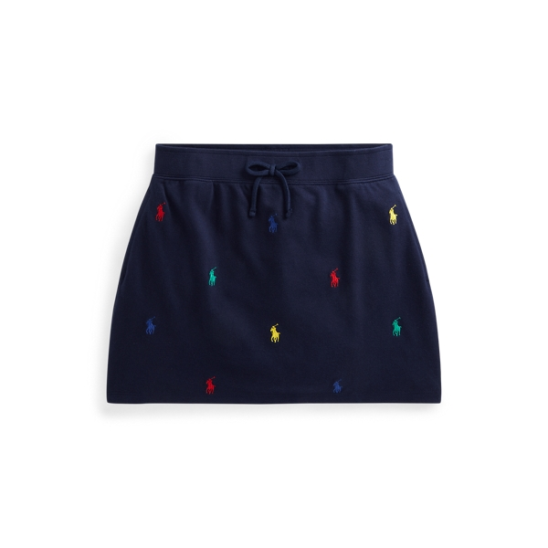 Polo Ralph Lauren Kids' Polo Pony Stretch Mesh Skirt In French Navy