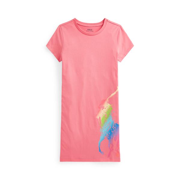 Polo Ralph Lauren Kids' Big Pony Cotton Jersey Tee Dress In Pink