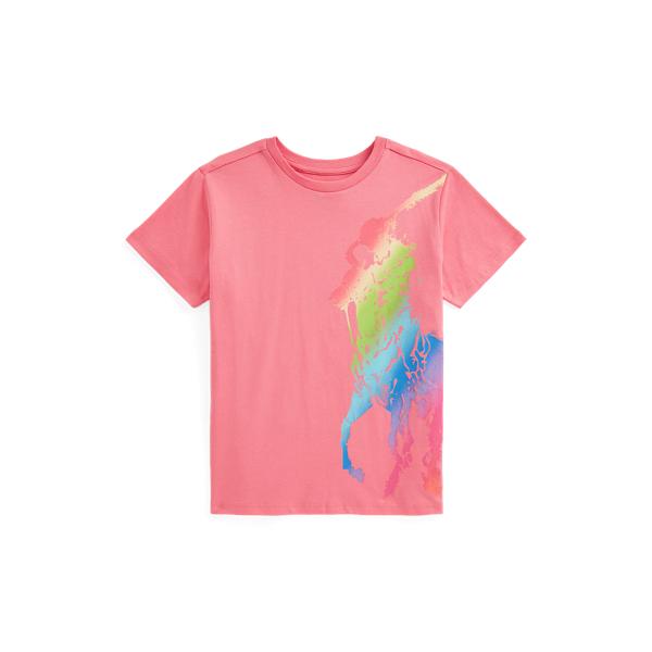 Polo Ralph Lauren Kids' Big Pony Cotton Jersey Tee In Pink