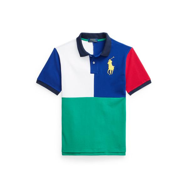 Polo Ralph Lauren Kids' Big Pony Cotton Mesh Polo Shirt In Active Royal Multi