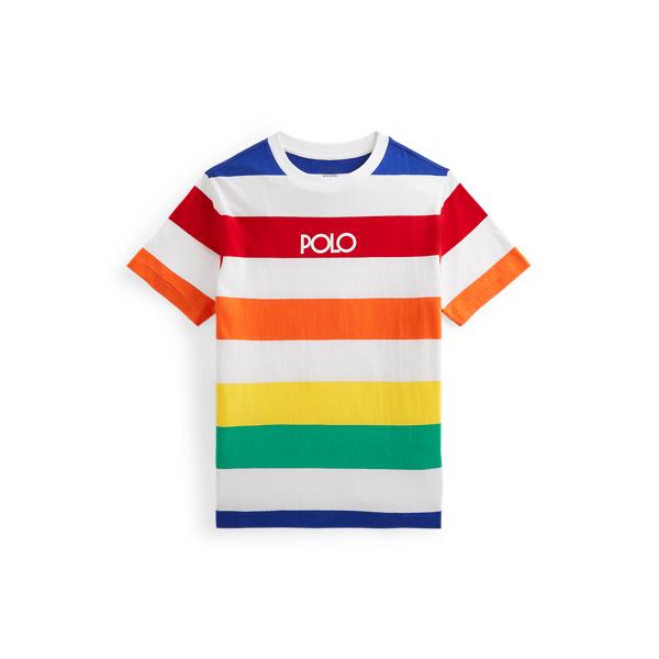 Polo Ralph Lauren Kids' Logo Striped Cotton Jersey Tee In Multi