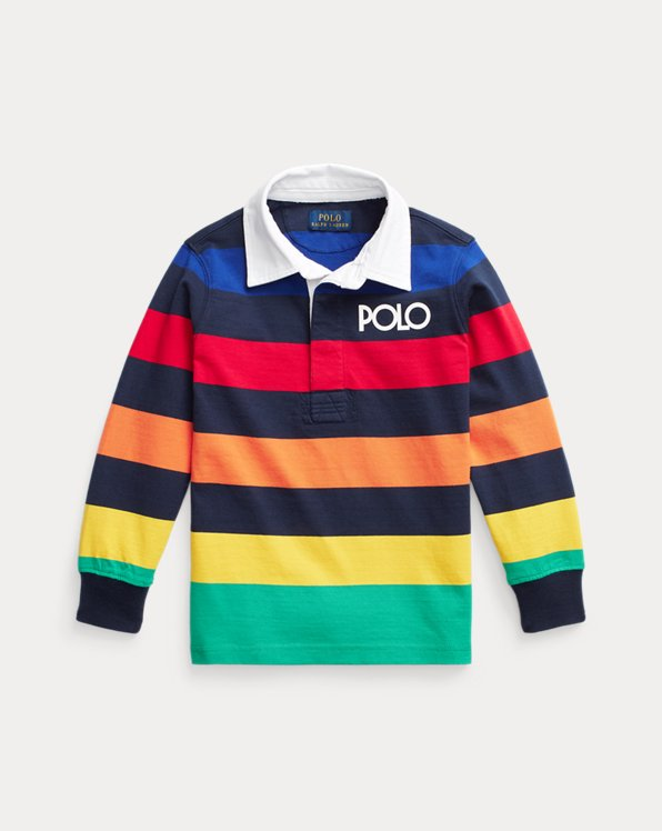 Logo Striped Cotton Rugby Shirt