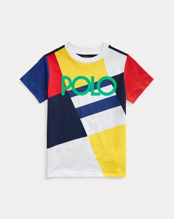 Jersey-T-Shirt mit Logo und Patchwork