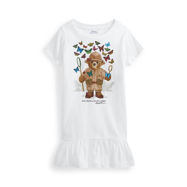 폴로 랄프로렌 여아용 폴로 베어 티 원피스 Polo Ralph Lauren Polo Bear Cotton Jersey Tee Dress,White