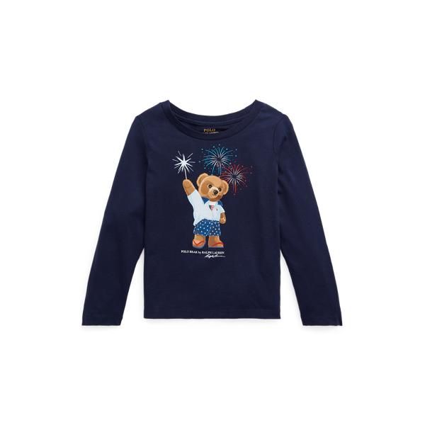 폴로 랄프로렌 여아용 폴로 베어 긴팔 티셔츠 Polo Ralph Lauren Polo Bear Cotton Jersey Tee,French Navy