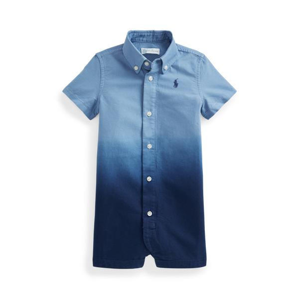 Ralph Lauren Babies' Dip-dyed Cotton Oxford Shortall In Blue
