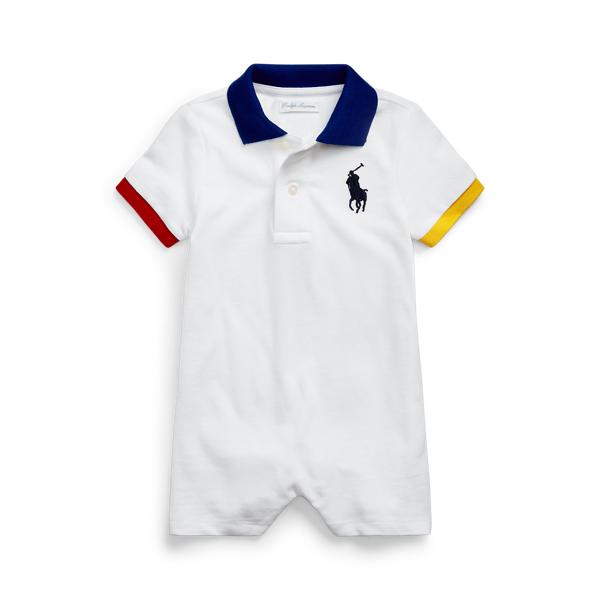 Ralph Lauren Babies' Big Pony Cotton Mesh Polo Shortall In White