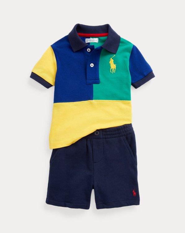 Mesh Polo Shirt & Fleece Short Set
