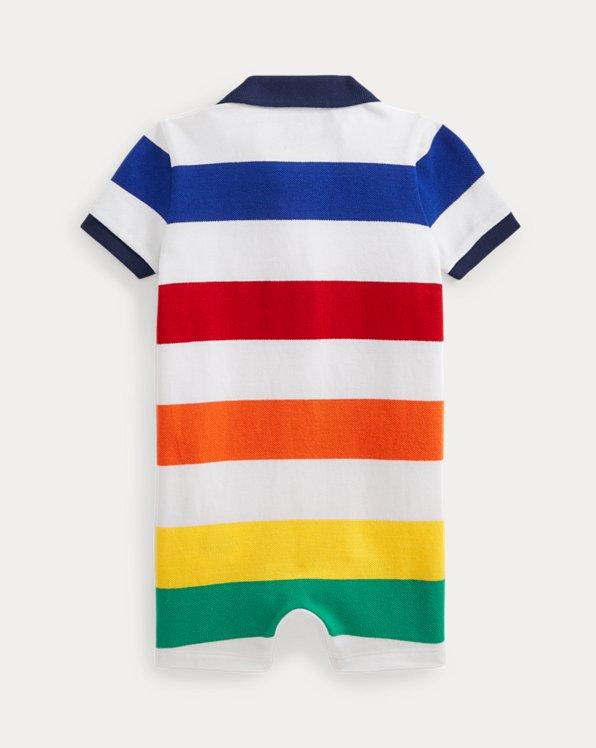 Striped Cotton Mesh Polo Shortall