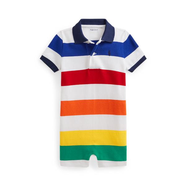 Ralph Lauren Babies' Striped Cotton Mesh Polo Shortall In Multi