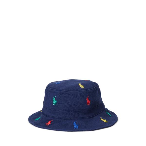 Ralph Lauren Babies' Polo Pony Mesh Bucket Hat In Blue