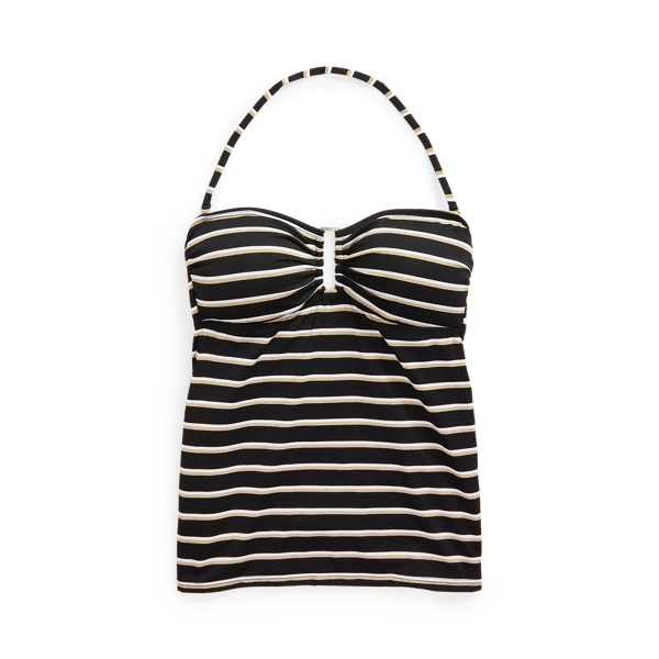 Lauren Ralph Lauren Striped Ring-front Bandeau Tankini In Black