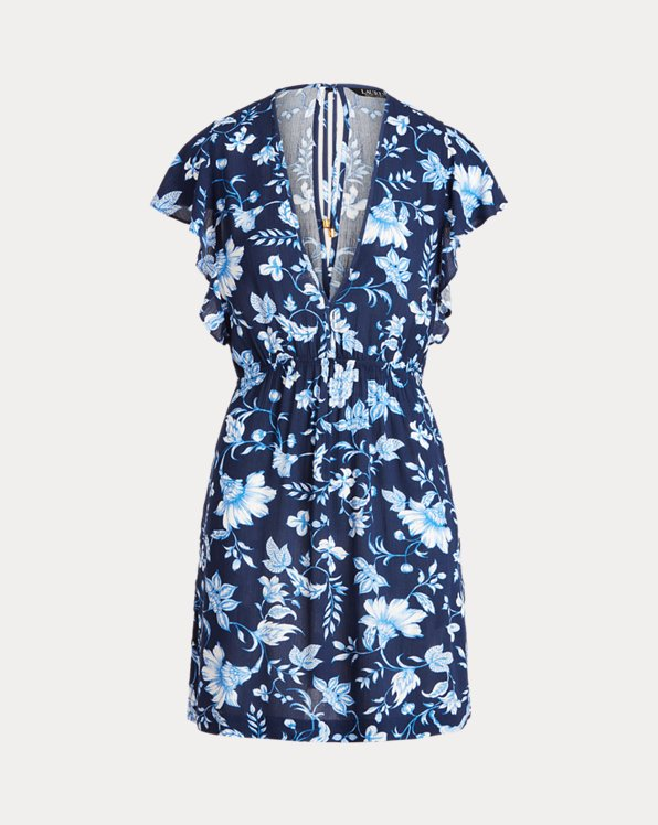 Floral Flutter-Sleeve Tunic